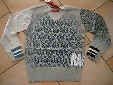 (317) RARE -The Kid Boys V-Ausschnitt Pullover used look mit Logo Druck gr.128