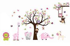 Cute Animal Zoo Swing Owl & Moneky Wall Sticker Monkey Playing on Tree Branch