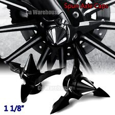 "CA Black Spun Blade Spinning Axle Caps For Harley  1 1/8"" Touring Street Glide"
