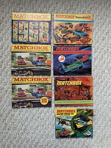 LOT OF 7 1968 - 73 MINT VINTAGE MATCHBOX COLLECTORS CATALOG U.S.A. FIRST EDITION