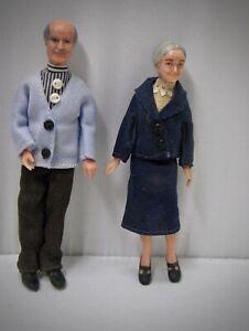 Lundby vintage miniature dolls Grandma & grandpa rubber nice clothes