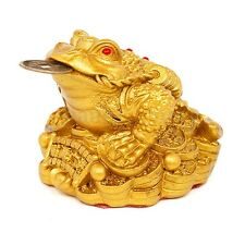 Feng Shui Lucky Money Three Legs Gilded Frog Toad Ingot For Enhance Fortune