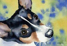 Rat Terrier Watercolor Painting Dog 8 x 10 Art Print by Artist Dj Rogers w/Coa