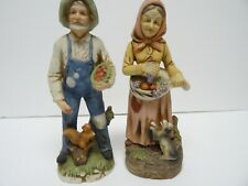 "Homco 8"" Porcelain Farmer Couple Figurines -Numbered-Nice"