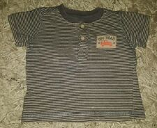 BABY BOYS Sz 00 grey & orange TARGET striped t-shirt COOL! TRENDY! CUTE! CAR!