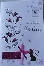 FEMALE BIRTHDAY CARD, SHOES, CAT, BIRDCAGE, PRESENT - EMBELLISHED ON FRONT (255)