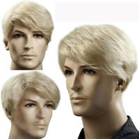 Handsome Men Blonde Short Straight Hairpiece Full Wig for Party Cosplay Toupee
