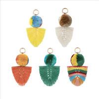 Fashion Plush Pompom Cotton Tassel Keychain Keyring for Bag Purse Pendant