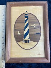 Vintage Hudson River Wood Inlay Picture Art Jeff Nelson Lighthouse Seagull