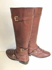 $448 COACH LAWRENCIA KNEE HIGH  BOOTS COGNAC BROWN  LEATHER ZIP A4221 SZ 7 B