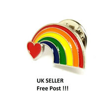 RAINBOW WITH HEART PIN BADGE UK FREE POST!!! THANK YOU NHS + KEY WORKERS