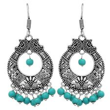 Indian Jhumka Earrings Traditional Silver Oxidized Blue Pearls Fashion Jewelry