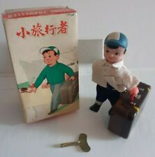 VINTAGE RARE YOUNG TRAVELLER CLOCKWORK TOY FIGURE BOXED WORKING + KEY TINPLATE