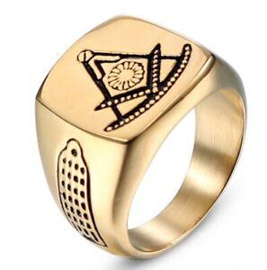 Stainless Steel Free Mason Ring Freemasonry Flat Face Style AG Masonic Ring