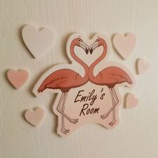Pink Flamingo Heart Set Personalised Door Name Plaque Boy Girls Bed Room