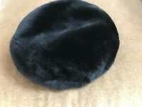VINTAGE DARK FAUX MINK PILLBOX HAT, RETRO 1950's, DESIGNER AMBROSE, NY