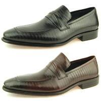 Carrucci Lizard Penny Loafer, Men's Slip-on Dress Leather Shoes, 7-13US/40-47EU