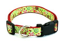 "Christmas Candy 1"" Width Adjustable Nylon Dog Collar - XL"