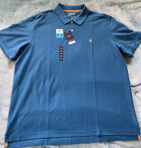 NEW Izod Advantage Performance 2 Button Polo Shirt Men's XXL Blue Sapphire