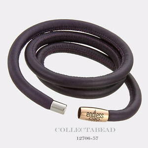 """Authentic Endless Rose Gold Plated Purple Triple Leather Bracelet 7.5"""" 12706-57"""