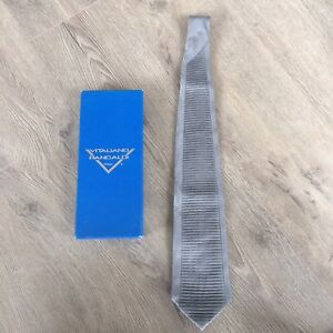 "Vintage Vitaliano Pancaldi Charcoal Gray Striped Pleated Silk Tie 60"" Made Italy"