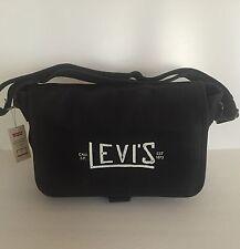 Levi's Unisex Black Canvas Leather School Bookbag Messenger Bag SALE