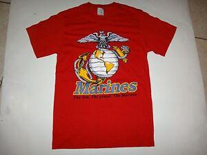 Neuf, Jamais Porté Nous Marine Corps Rouge Couleur Coton T-Shirt, Avec Taille S
