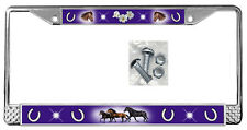 Horses Dark Purple Backdrop License Plate Frame Gifts Polished Metal-Screws TXT