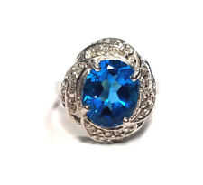 Woman's Estate 14k White Gold With 4ct Blue Topaz Diamond Accent Ring Size 8