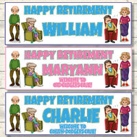 2 PERSONALISED RETIREMENT BANNERS - ANY NAME - COFFIN DODGER -OLD CODGER -PLAIN