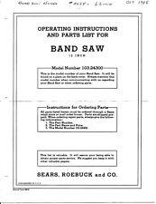 "1950 Craftsman 103.24300  12"" Three Wheel Band Saw Instructions"