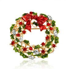 CHRISTMAS PINS BROOCHES Multicolor Rhinestone Bow-tie Wreaths Pin Braw Beauty