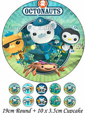 Octonauts 19cm Round PLUS 10 x 3.5cm Cupcake Edible WAFER Cake Toppers