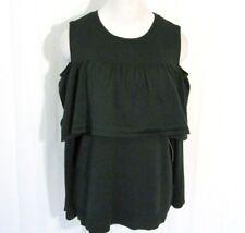Ruff Hewn Grey Womens Top Sweater XL Long Sleeve Cold Shoulder Ruffle Green $69