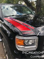 Truck vinyl decal racing sticker Stripes For GMC Sierra hood Stripes graphics x2