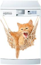 Adhesivo lavavajillas decoración cocina electrodomésticos gato sobre hamacas 699
