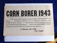 CORN BORER 1943 WARNING ENFORCEMENT SIGN FARMING DELHI ONTARIO CANADA NORFOLK