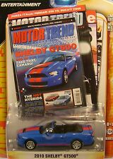 BLUE 2010 SHELBY GT500 CONVERTIBLE GREENLIGHT 1:64 SCALE DIECAST METAL MODEL CAR