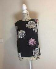 COUNTRY ROAD - Women's Black Sleeveless Top With Flowers - Size XS - Silk Blend