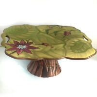 "Tracy Porter Lotus Collection 12"" Pedestal Cake Stand Floral Green"