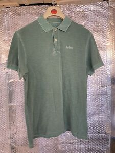 Barbour Classic Men's Polo Size Large Green Buttoned T Shirt Tee Short Sleeve