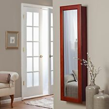 Cherry Finish Wall Mount Interior LED Lights Mirror Jewelry Armoire Furniture