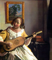 Huge Oil painting Johannes Vermeer - The Guitar Player beautiful young girl art