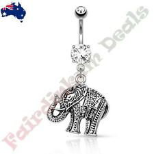 316L Surgical Steel Clear Jewelled Belly ring with Elephant Dangle