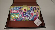Coach POPPY multi color signature print zip around EXTREMELY RARE NEW tags 47802