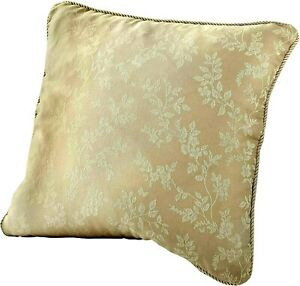 2 X Floral Jacquard Cushion Cover, GOLDEN WITH PIPING , 45 x 45 Cm
