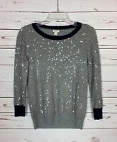 J.Crew Women's Size S Small Gray Navy Blue Long Sleeve Sequin Cute Sweater Top