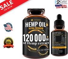 Premium Hemp Oil Drops 120 000 MG Help Reduce Stress Anxiety Pain, 100% Natural