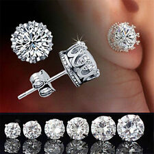 Vintage Women Men Silver Crystal Crown Charm Ear Studs Earrings Jewelry Gift @