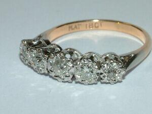 Antiker Ring 18K Gold, Platin 5 Altschliff Brillanten zus. 0,55 ct, Gr. 56